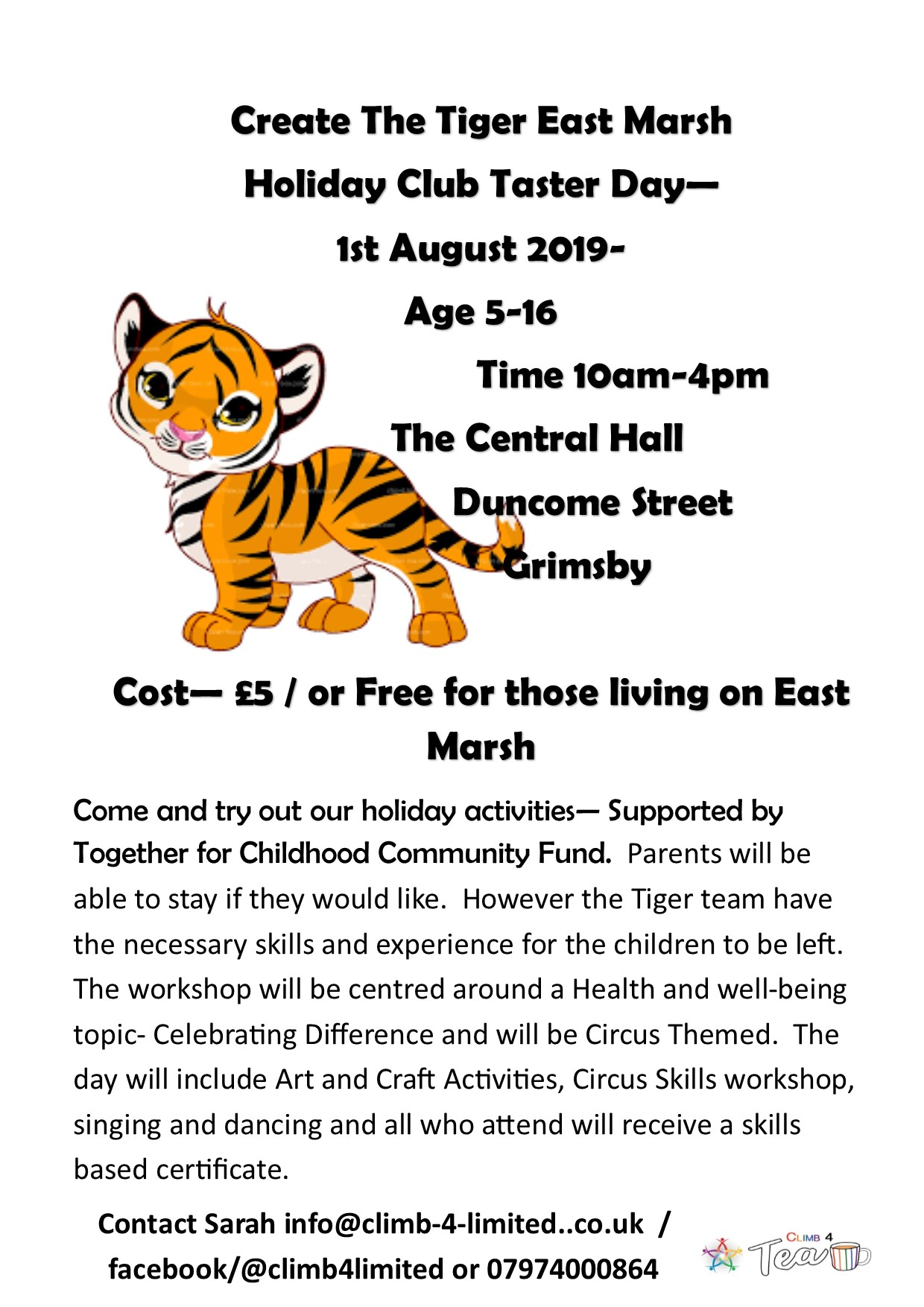 A4 Poster for Central Hall east marsh holiday Club