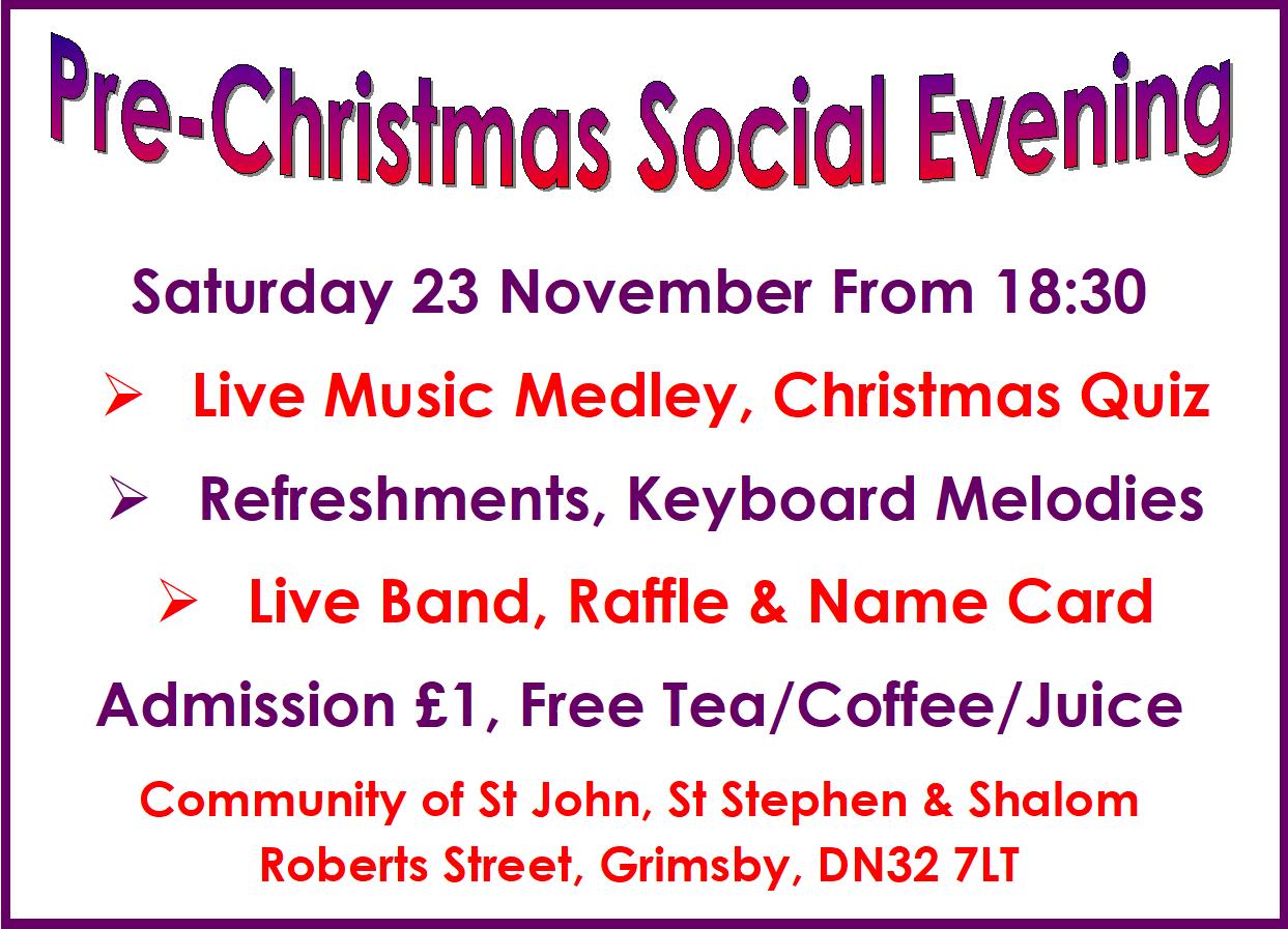 Pre-Christmas Social Evening 23 Nov 19