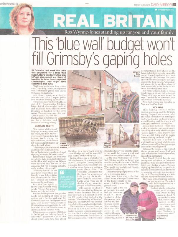 2020-03-13 Ros Wynne Jones East Marsh in Daily Mirror